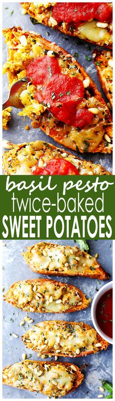 Basil Pesto Twice Baked Sweet Potatoes - Twice baked, savory sweet potatoes stuffed with a delicious basil pesto mixture, and topped with melty mozzarella cheese and marinara!
