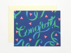 Congrats Card  Deep Blue  Congratulations  by clapclapdesign, $4.50