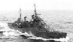 HMS MANCHESTER - Town-type Light Cruiser including Convoy Escort Movements, B a t t l e H o n o u r s NORWAY 1940 - SPARTIVENTO 1940 - ARCTIC 1942 - MALTA CONVOYS 1941-42 and sunk in the Med August 13th.