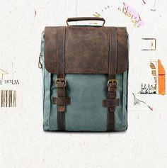 genuine leather backpack backbag canvas backpack