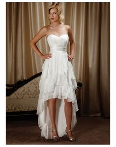 Chiffon Sweetheart Tiers Ruffle High Low Wedding Dress on Sale at Persun.co.uk - $164