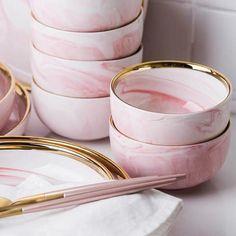 Pink Marble Ceramic Dinner Dish Plate – Free From Label Modern Dinnerware, Dinnerware Sets, Vintage Dinnerware, Porcelain Dinnerware, Yellow Dinnerware, Vintage Pyrex, Pink Plates, Plates And Bowls, Pink Dinner Plates