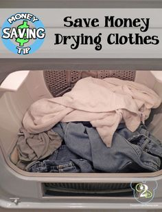 Save Money Drying Clothes by throwing a towel in with the wet clothes.