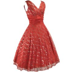 1950s Red Lace Dress with Silver Thread - 50s Party Dress in Clothing, Shoes, Accessories, Vintage, Women's Vintage Clothing | eBay!