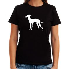 Italian Greyhound Silhouette Embroidery Women T-Shirt ($17) ❤ liked on Polyvore featuring tops, t-shirts, black, women's clothing, embroidery t shirts, embroidered top, embroidery top and embroidered t shirts