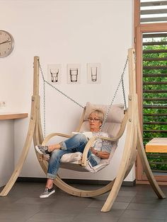"""Crafted with weatherproofed spruce wood, All of our Globo Hanging Chairs guarantee stability, safety and comfortability. Your """"Globo Chairs"""" come with a huge soft pillow cushion making it the perfect place to relax while reading your kindle, watching a movie, or taking an afternoon siesta.  #Hammock #HammockDecor #HangingChair  #trendyFurniture #Furniture #HammockTown #JustHangIt #RattanChair #BohoFurniture #bohoChair #Bohemian #BohoChic #HomeDecor #CozyCorners Kids Hanging Chair, Swinging Chair, Hanging Chairs, Trendy Furniture, Home Decor Furniture, Furniture Design, Indoor Hammock Chair, Bedroom Built In Wardrobe, Woodworking Ideas Table"""