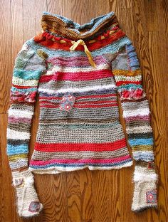 crochet knit patched recycled sweater by eanie meany, via Flickr----- somehow I love this!