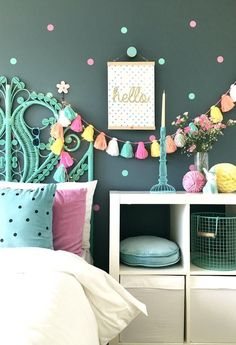 Interior for kids - Easy ways to inject colour into a child's interior space. Simple DIY ideas for teen and tween girls bedrooms. Interior for kids - Easy ways to inject colour into a child's interior space. Teenage Girl Bedrooms, Tween Girls, Bedroom Kids, Kids Bedroom Ideas For Girls Tween, Kid Bedrooms, Kids Rooms, Green Girls Bedrooms, Warm Bedroom, Diy Room Decor For Girls