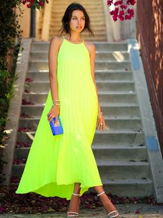 Line & Dot Neon Lime Fluttery Accordion Pleat Maxi Cami Dress by Vivaluxury color, look, style of dress Fashion Blogger Style, Love Fashion, Womens Fashion, Dress Fashion, Fashion 2015, Fashion Sale, 1950s Fashion, Cheap Fashion, Fashion Bloggers