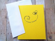 Bumble Bee Thank You Cards Bright Yellow Card by PapergirlStudios