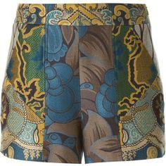 Etro Jacquard Shorts ($536) ❤ liked on Polyvore featuring shorts, multi colored shorts, etro, colorful shorts and jacquard shorts