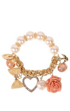 pearl chain bracelet with peach colored charms