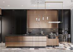 Black&Bronze Kitchen on Behance Luxury Kitchen Design, Luxury Interior Design, Luxury Kitchens, Interior Architecture, Kitchen Dinning, Kitchen Decor, Kitchen Island, Kitchen Furniture, Kitchen Interior