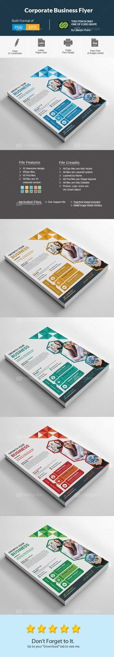 PSD Corporate Flyer Template DIN Letter size print dimension with Bleed Well Layered Organized PSD & EPS with 300DPI, CMYK, Print ready The Flyer Contains 1 Designs with 5 CMYK Color Variations Fully Editable, Text/fonts/colors editable Smart Object & Shape Layer Very Easy to Customize & replace the picture images & logo via Smart Object