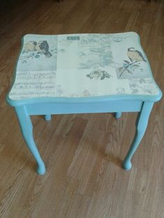 Vintage style side table in duck egg blue with decoupage top :)