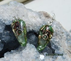 FREE Shipping  Orgonite Earrings  with Prehnite and clear