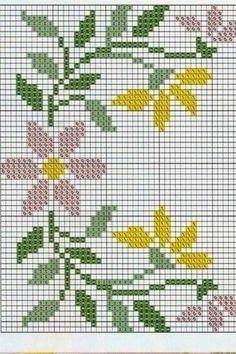 Cross Stitch Borders, Cross Stitch Flowers, Cross Stitch Designs, Cross Stitch Patterns, Embroidery Patterns, Hand Embroidery, Crochet Blanket Tutorial, Elephant Cross Stitch, Cross Stitch Beginner