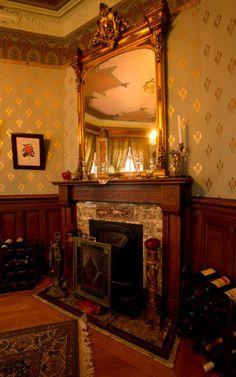 Beautiful mantel in a gorgeous room. #BradburyWallpaper