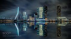 Erasmus bridge in Rotterdam by Atha_Pana