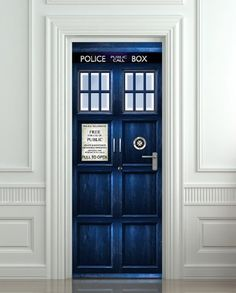 """Wall Door STICKER Who Police box movie sticker, mural.  Now this would be fun .. definitely makes it """"bigger on the inside"""" ... LOL  Love it!"""
