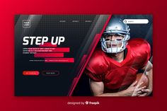 Sport landing page template with photo Free Vector Sports Graphic Design, Graphic Design Posters, Sport Design, E Sports, Web Layout, Layout Design, Webdesign Layouts, Banner Design Inspiration, Design Ideas