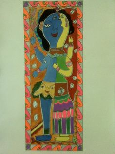 Madhubani Folk Art Indian Hindu - Shiva - I think this is Ardhanarishwara (half male and half female form of Shiva)