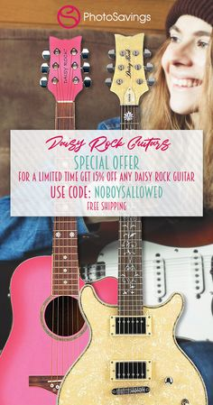 "***Girls Only Special Holiday Offer***  15% off on any Daisy Rock Guitar. While supplies last. Free shipping. Use promo code ""NoBoysAllowed"" at checkout to save 15%!   Whether you are already a veteran guitarist or want to change the life of a special girl in your life, this is the best time to get a great deal on these amazing guitars. Special Girl, Guitars, Musicals, Dj, Daisy, Coding, Change, Free Shipping, Rock"