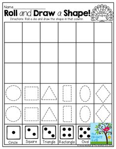 Roll and Draw a SHAPE!  A FUN and interactive way to work on identifying and drawing shapes!