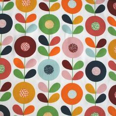 Kinnamark Cirkelblomma Chocolate Scandinavian Fabric - Bold and lively, Betty Svensson's pretty Cirkelblomma fabric will add a pop of pattern to your room. Scandinavian Fabric, Scandinavian Pattern, Scandinavian Design, Scandinavian Kitchen, Boho Pattern, Pattern Art, Textile Patterns, Print Patterns, Impression Textile