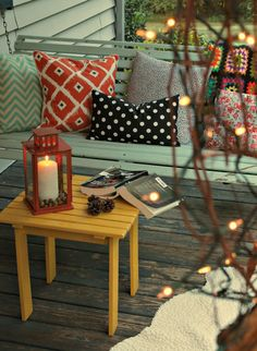 Fall Porch Makeover with Amy- cute pillows