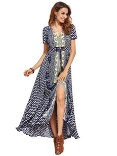 af2df6195177 Milumia Women s Button Up Split Floral Print Flowy Party Maxi Dress at Amazon  Women s Clothing store