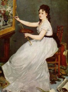 Édouard Manet (1832-1883) 1870 Portrait of Eva Gonzales in Manet's Studio  She is painting on one of Manet's paintings