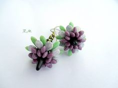 by Ruzena Mikulova Bead Jewelry, Bead Earrings, Spikes, Bead Weaving, Beading, Tutorials, Floral, Ideas, Projects