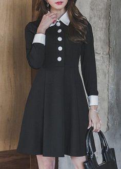 Button Design Black Long Sleeve Dress on sale only US$34.90 now, buy cheap  Button Design Black Long Sleeve Dress at lulugal.com