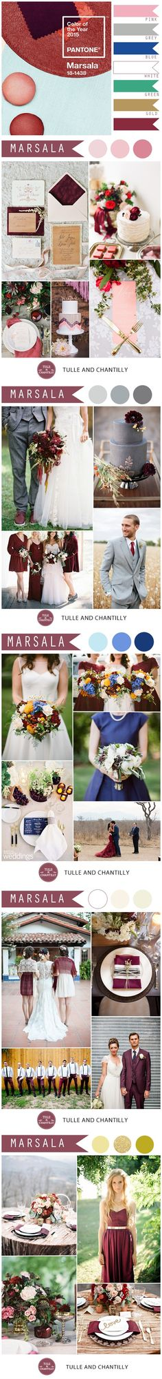 2015 wedding color ideas - Pantone Marsala Wedding Color Combo Ideas – Color of the Year 2015