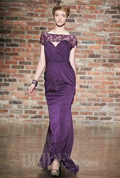 Brides.com: Jim Hjelm - Fall 2014. Occasions style 5416, plum luminescent chiffon A-line bridesmaid dress, gathered strapless sweetheart neckline, natural waist with gathered skirt, plum lace detail at back, lace removable bolero, Jim Hjelm
