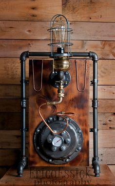 INDUSTRIAL FUNK- Steampunk Lighting vintage repurposed lamp