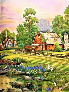 """From """" Thomas Kinkade - Painter of LIght """" Done with Prismacolor, Derwent Colorsoft pencils and Staedtler fine liners. Printable Adult Coloring Pages, Coloring Book Pages, Farm Canvas Art, Vintage Coloring Books, Cartoon House, Landscape Structure, Country Scenes, Thomas Kinkade, Color Pencil Art"""