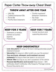 For figuring out how long to keep that one medical bill. | 25 Incredibly Useful Spring Cleaning Cheat Sheets