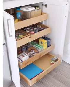 Best Kitchen Cabinet Organization Ideas Fun ideas for a more organized kitchen! Kitchen cabinets storage tips and beautiful home decor inspiration from a new farmhouse style white kitchen. Kitchen Pantry Design, Smart Kitchen, Home Decor Kitchen, Kitchen Interior, Organized Kitchen, Kitchen Furniture, Kitchen Without Pantry, Clever Kitchen Ideas, Kitchen Pantry Cupboard