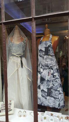 Chez Zélia  les robes de mariée côtoient  les tabliers élégants- Tout est unique et fait main -