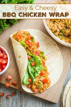 Get big BBQ flavor without firing up the grill! These Easy, Cheesy BBQ Chicken Wraps are ready in under 10 minutes and great for meal prep - and SO good! Chicken Tortilla Wraps, Bbq Chicken Wraps, Barbecue Chicken, Rotisserie Chicken, Shredded Chicken Recipes, Healthy Chicken Recipes, Whole Food Recipes, Drink Recipes, Wrap Recipes