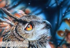 eagle owl in colored pencil with an airbrushed background