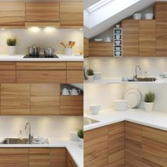 Cocina de madera con encimera blanca. Wooden kitchen with white worktop.