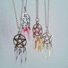 Dream catcher pentagram necklace, pentacle necklace, pastel goth on Etsy