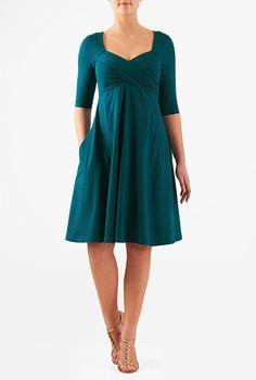 I <3 this Sweetheart neck cotton knit empire dress from eShakti