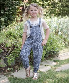 Love this Blue & White Floral Overalls - Toddler & Girls by Hannah Banana on #zulily! #zulilyfinds