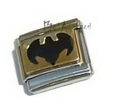 BAT BLACK Gold Tone Italian Charm
