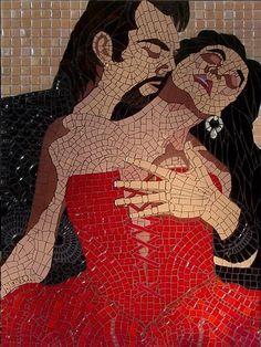 Mosaic Artists: Artwork Detail Display. Mosaic figurative romantic passionate woman and man. Couple.