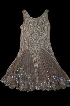 1920s bead & sequin rose gold flapper - shown flared.